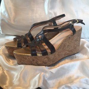 Black and Gold Sandal Cork Wedges
